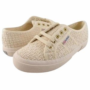 Superga Crochet Off White Lace Up Sneakers Size 36
